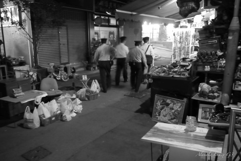 fire constables checking the sheung wan moving markets